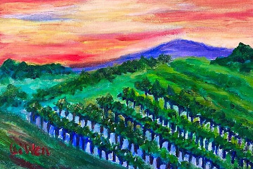 Sunset over Vineyard Original Oil Painting