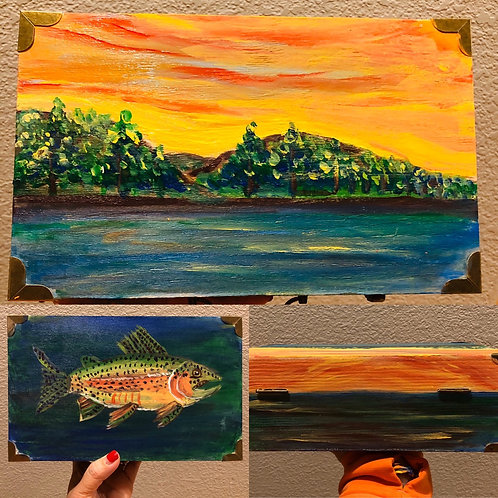 Fish in the Lake Hand Painted Wood Box