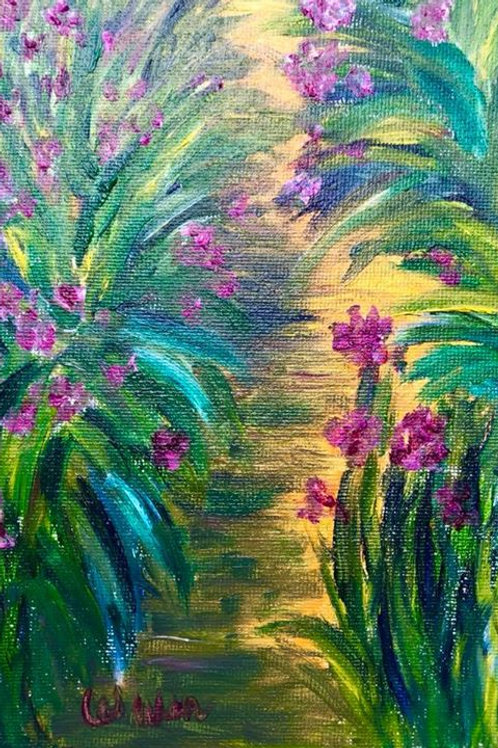 Flower Path  Original Oil Painting