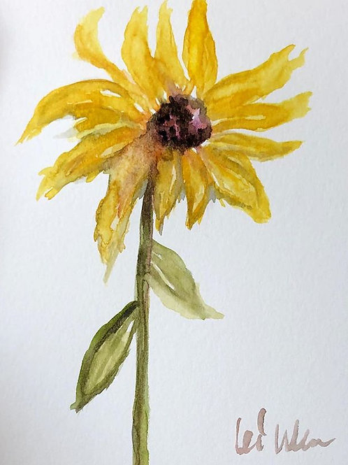 My Sunflower - Watercolor by Lei  Original Watercolor Greeting Card