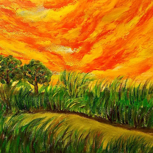 Countryside Sunset - Original, sunset, bright colors, landscape trees art, Contemporary, Modern Office, Wall Decor, Dramatic