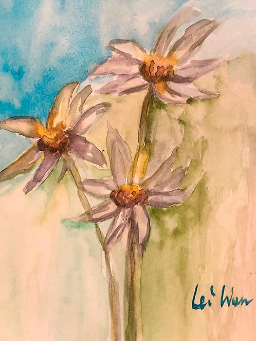 Lovely Daisies - Watercolor by Lei  Original Watercolor Greeting Card