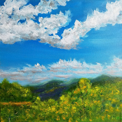 Spring, Colorado, Original painting, Landscape painting, Rocky Mountains, hanging clouds, Original painting on canvas