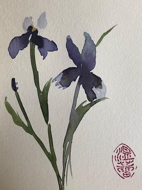 Under Purple Moon - Watercolor by Lei  Original Watercolor Greeting Card