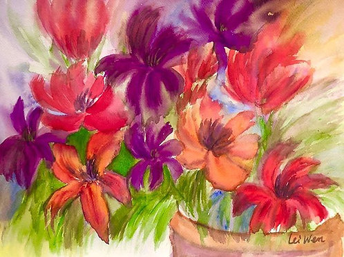 Spring Flowers, Red, Purple