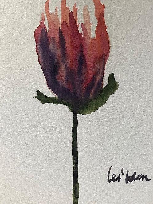 My Tulip - Watercolor by Lei  Original Watercolor Greeting Card