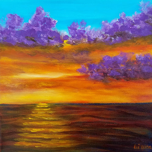 Sunset Painting, Original Acrylic Painting, Hanging Clouds, Ocean Painting, Romantic Wall Art, Gift for her, Gift ideas