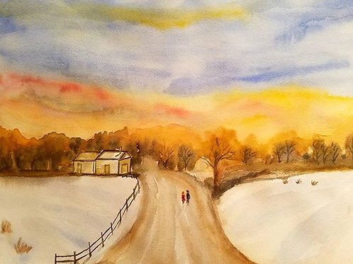Sunrise Painting, Sunrise Original watercolor painting, Snow painting, Gift for mom, unique gift for sisters