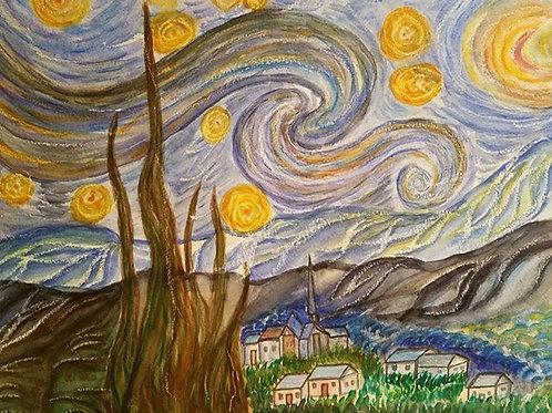 Starry night painting, Reproduction of original painting, Watercolor Painting, Van Gogh starry night, Van Gogh, Office Art