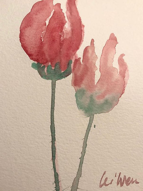 Twin Tulips - Watercolor by Lei  Original Watercolor Greeting Card