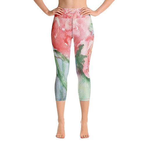 Yoga Capri Leggings-Watercolor Flower
