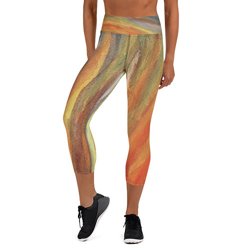 Yoga Capri Leggings - Space Oddity Front View