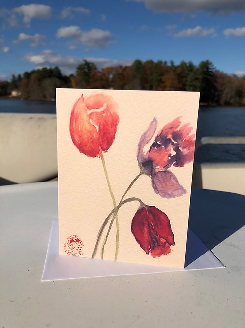 Tulips Watercolor Note Card