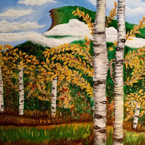 The old man of the mountain- Original, foliage, Contemporary, Birch Trees, landscape art, Modern Office, Calm Happy, Wall Dec
