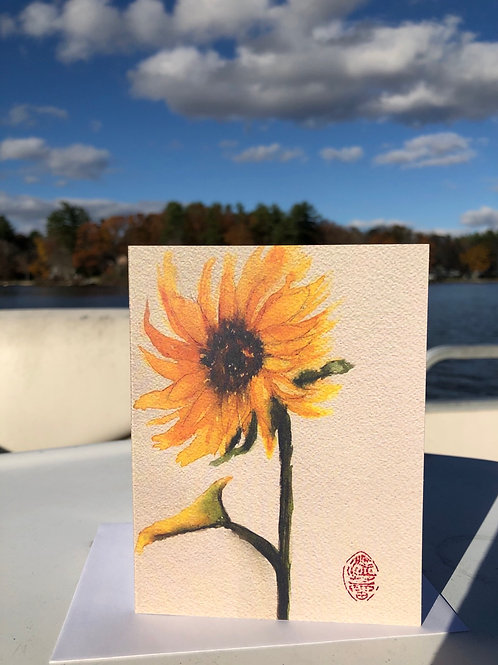 Sunflower Watercolor Thank you card