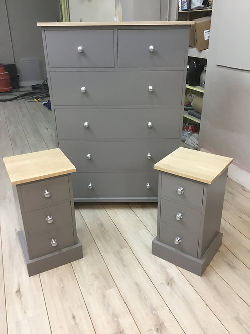 2 over 4 Painted Chest of Drawers and a pair of 3 Drawer Bedside Units