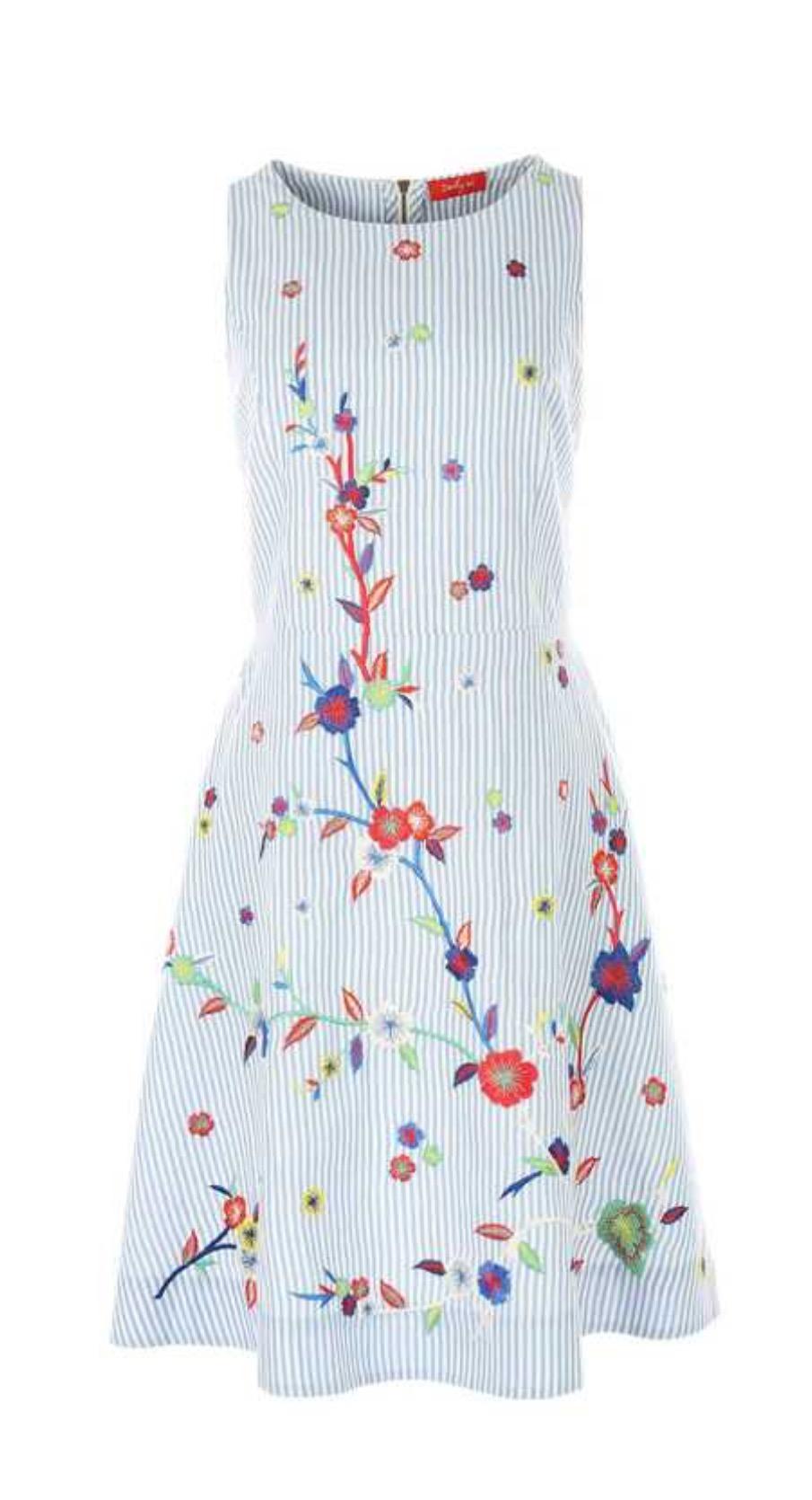 שמלת פסים עם פרחים רקומים בגזרה ישרה