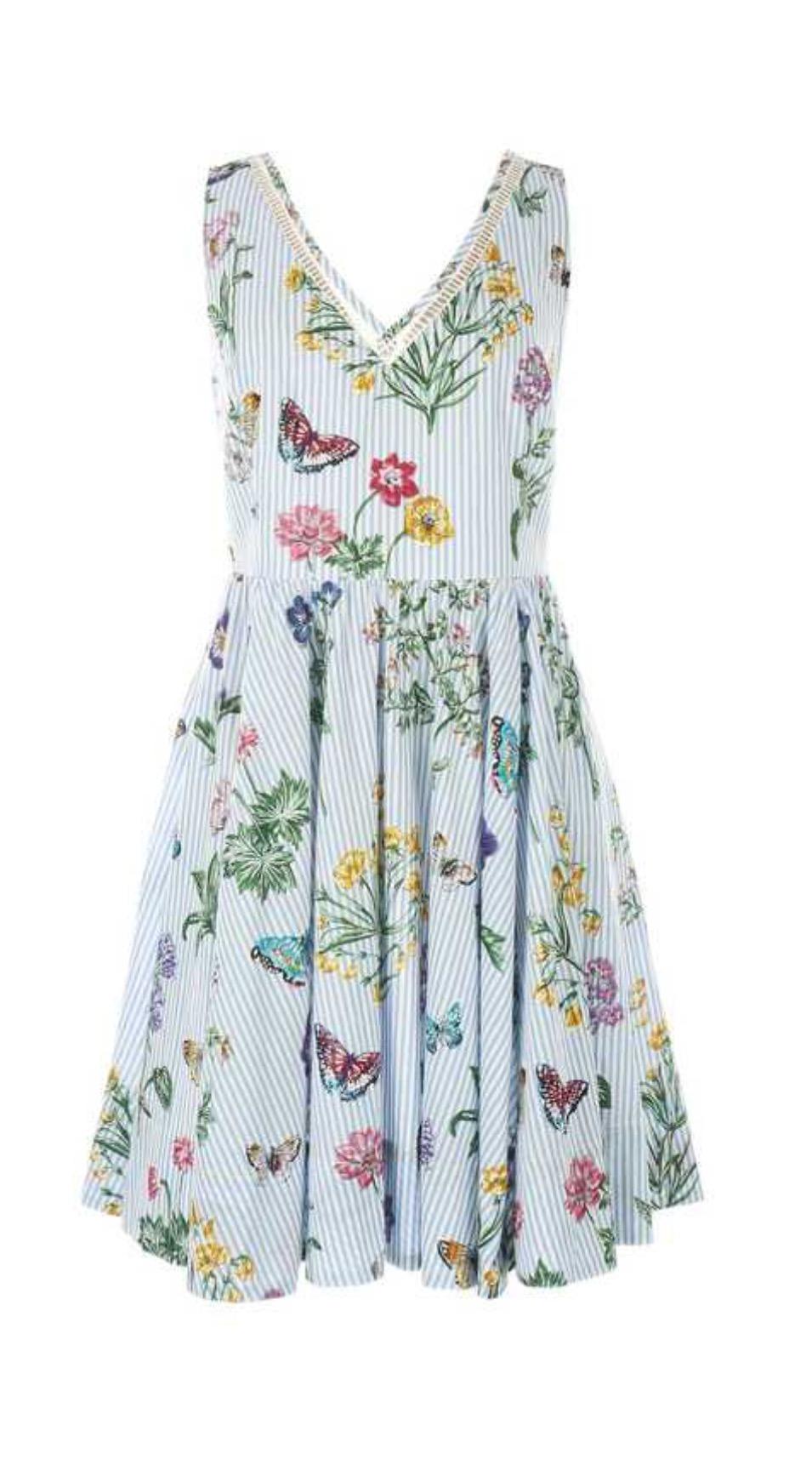 שמלת וי פסים ופרחים