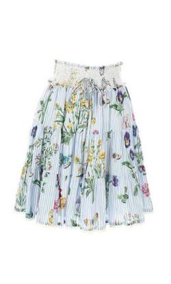חצאית כיווצים פסים יחד עם פרחים
