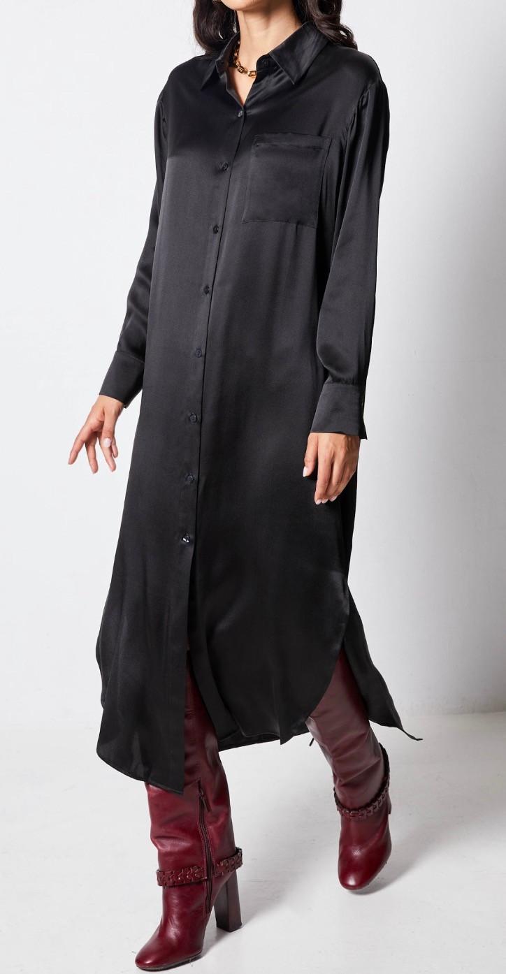 מיקי שרוני קולקצית סתיו 2020 - שמלת חולצה שחורה notshy