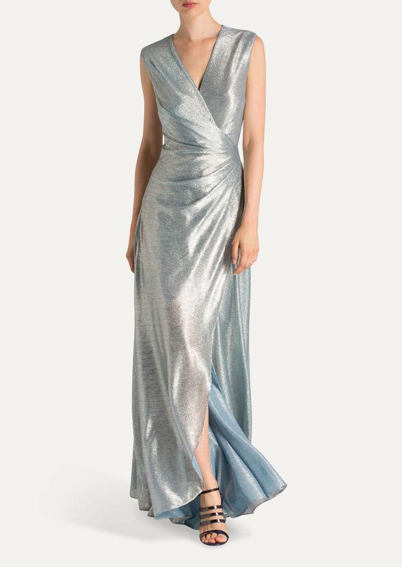 שמלת ערב סאטן תכלת מיקי שרוני