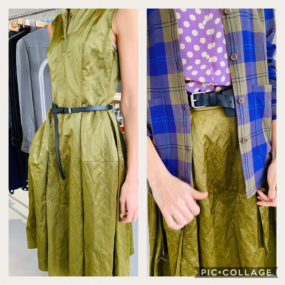 קולקציית סתיו 2020 מיקי שרוני אופנה בייבוא אישי שמלה ירוקה מקסימה ללא שרוול
