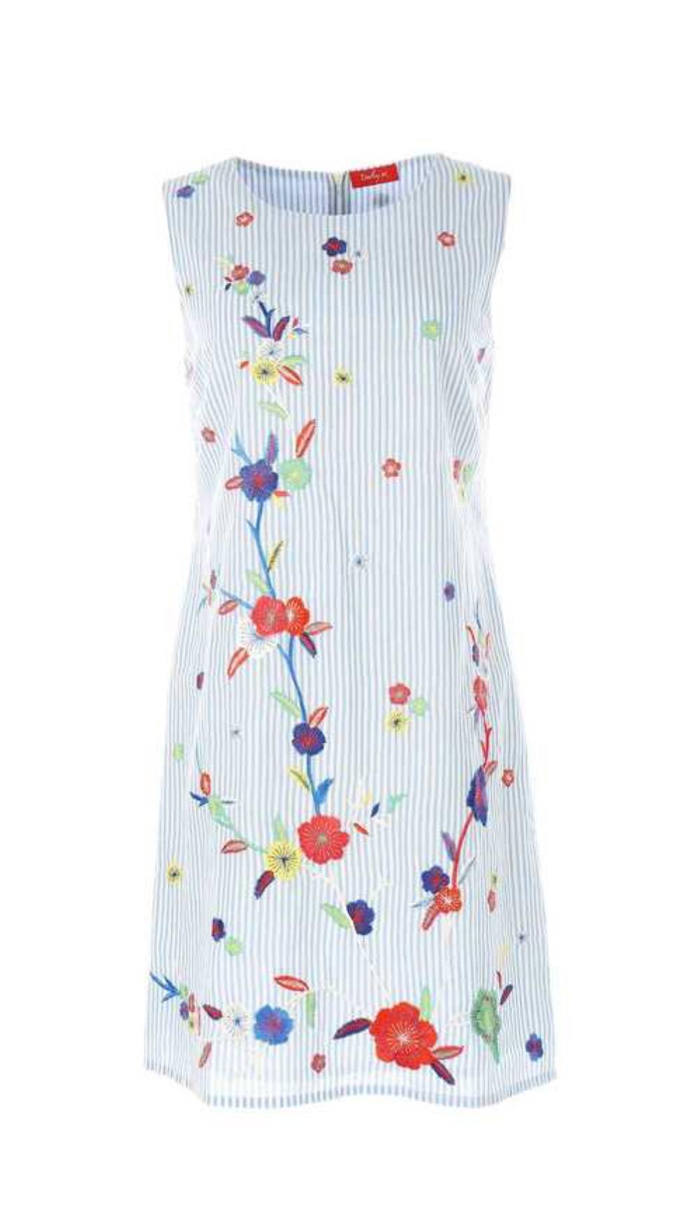 שמלת פסים עם פרחים רקומים בגזרה מתרח