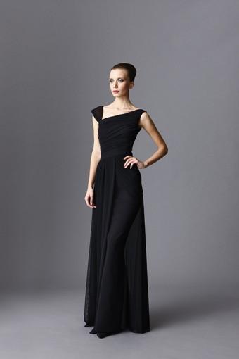 מיקי שרוני קולקצית חורף 2016 שמלת ערב ארוכה עם שיפון