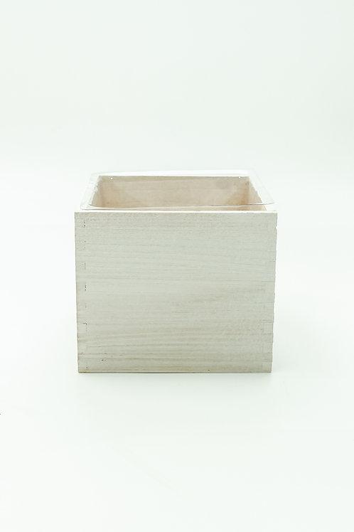"""Wood Cube White Wash Box- 6"""""""