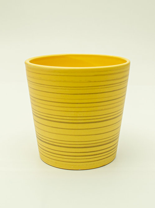 Yellow Striped Ceramic Container