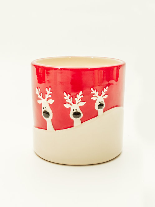Ceramic Reindeer Holiday Plant Container