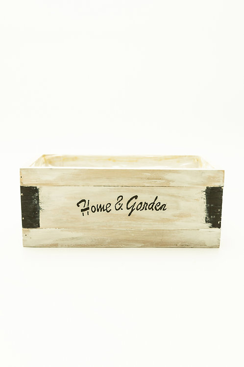 Farm White Wash Wood Container