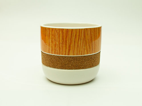 Natural and White Cork Ceramic Container