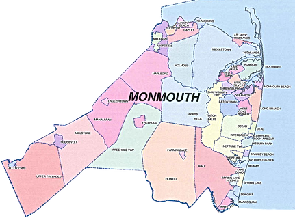 Monmouth County NJ Air Duct Cleaning Map