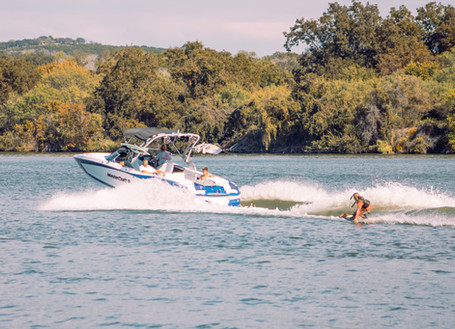 Wakeboarding and wakesurfing boat.