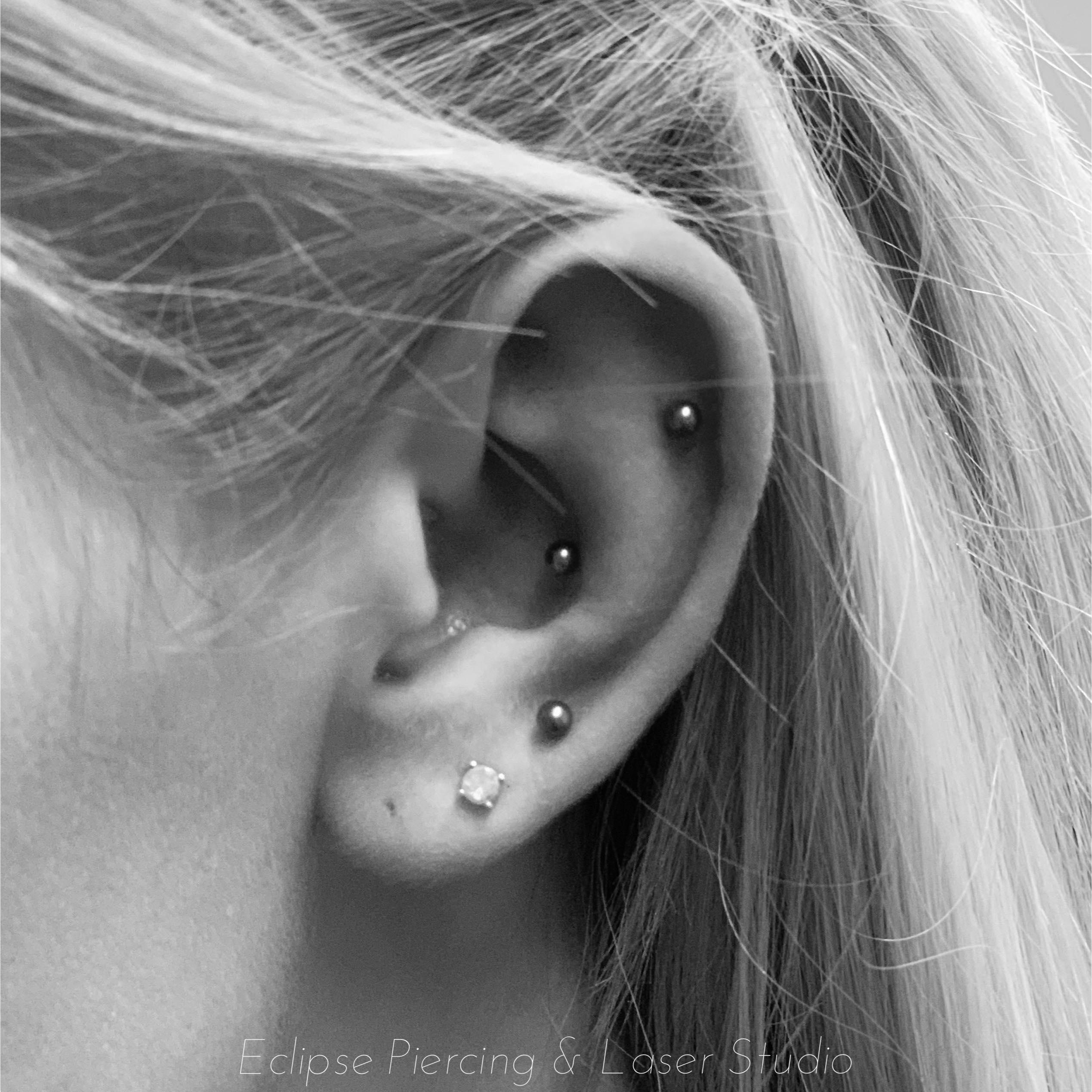 Flat, Conch & Third lobe piercings