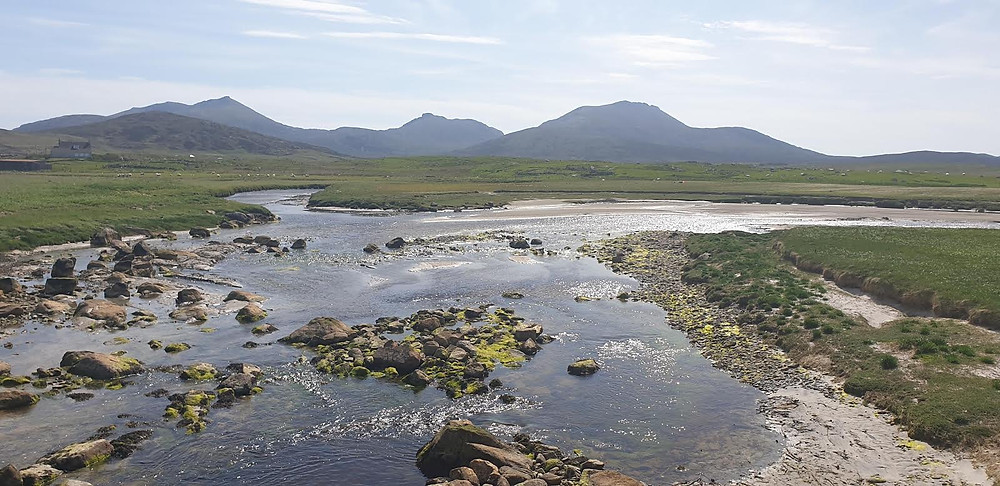 Howmore, Isle of South Uist with the 3 peaks in the distance