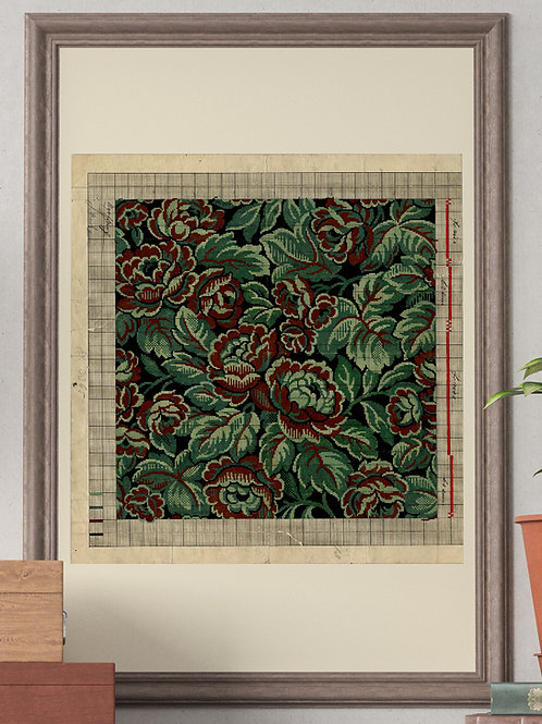 Green Tapestry Floral Point Paper