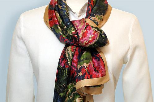 Blue Pink Antique Floral Silk Scarf