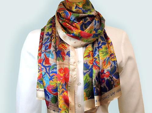 Multi Colour Antique Floral Silk Scarf