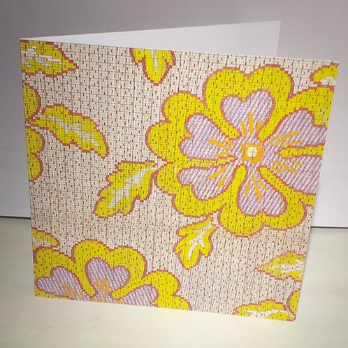 Yellow Red Pansy Greeting Card