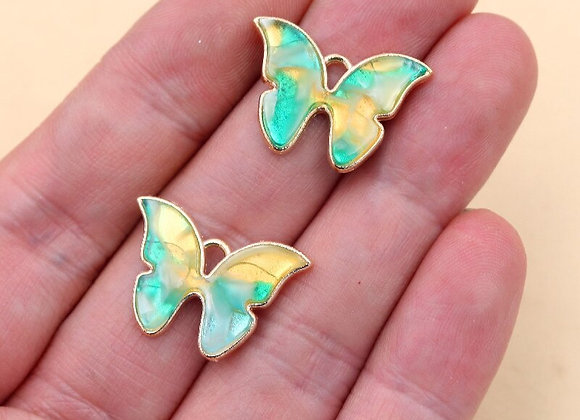 6pcs Enamel Butterfly Pendant DIY Jewelry