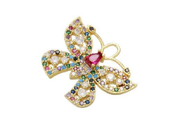 20x24mm Chic Crystal  Butterfly Pendant for Jewelry