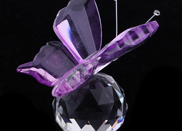 Crystal Flying Butterfly With Ball Base Figurine Cut Glass Ornament Statue