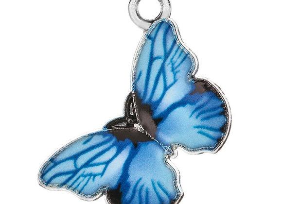 10pcs Blue Enamel  Butterfly Charms 14mm