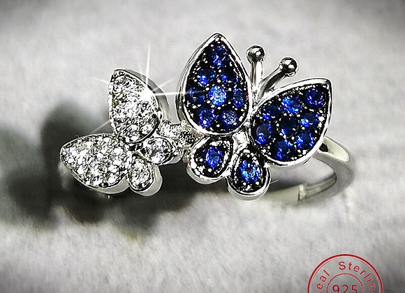 Sapphire Crystal Butterfly 925 Sterling Silver Rings