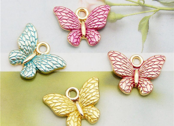 Julie Wang 8PCS Small Butterfly Charms  Mixed Colors Pendant