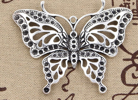 2pcs Charms Hollow Butterfly 60x48mm Antique Pendant for DIY Jewelry