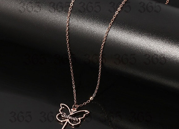 Necklace Personalized Butterfly Key Shape Stainless Steel for  Gift