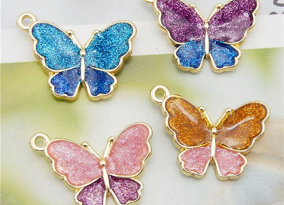 Julie Wang 8PCS Enamel Butterfly Charms Mixed Colors